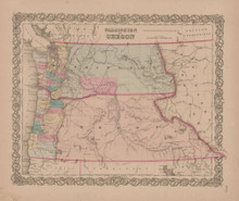 Washington and Oregon Vintage Map GW Colton 1855