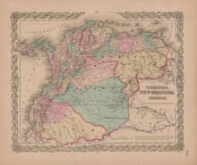 Venezuela and New Granada Vintage Map GW Colton 1855