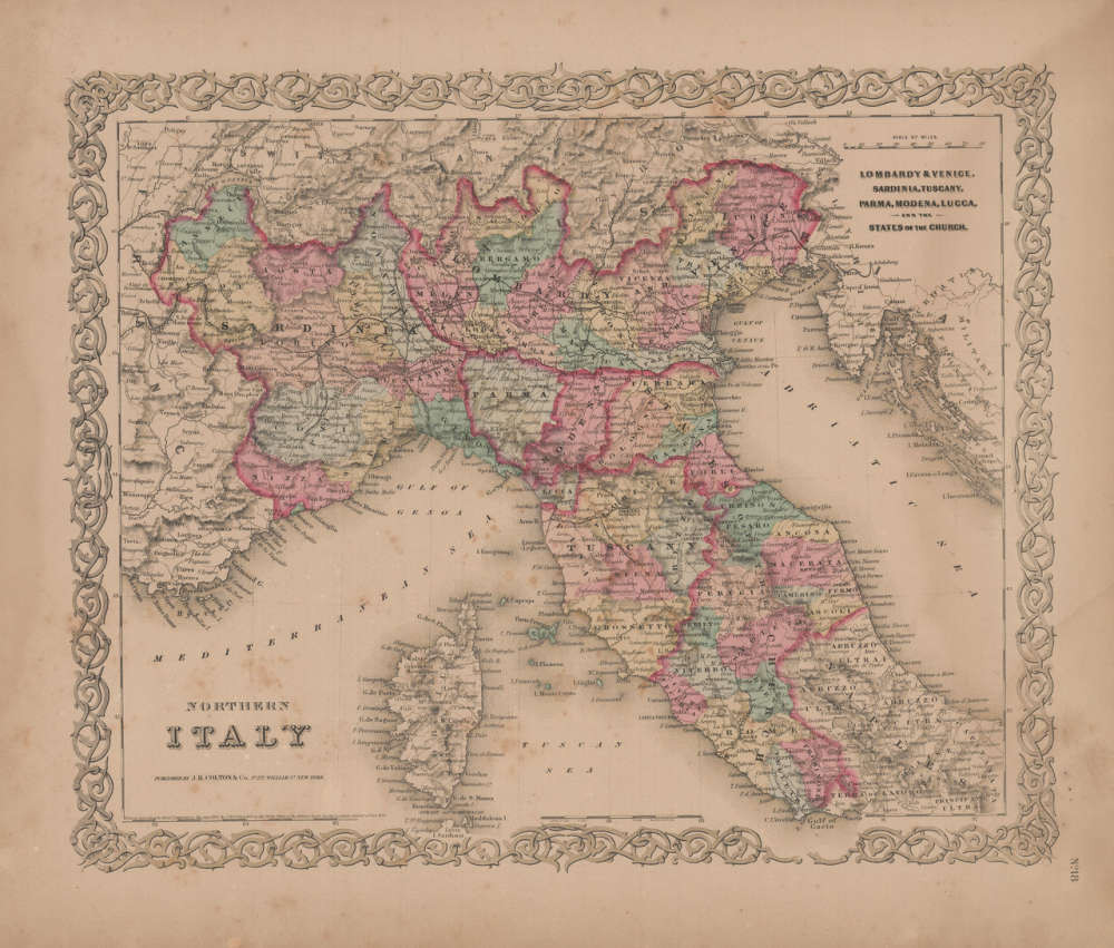 North Of Italy Map.Northern Italy Vintage Map Gw Colton 1856