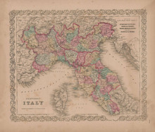 Northern Italy Vintage Map GW Colton 1856