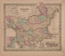 Turkey in Europe Vintage Map GW Colton 1856