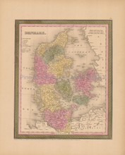 Denmark Antique Map Mitchell Cowperthwait 1853