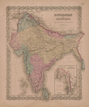 Hindostan or British India Vintage Map GW Colton 1856