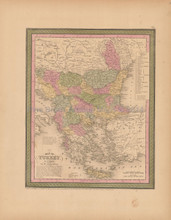 Turkey Europe Antique Map Mitchell Cowperthwait 1853