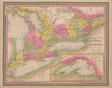 Ontario Canada Vintage Map Mitchell 1847