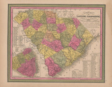 South Carolina Vintage Map Mitchell 1847