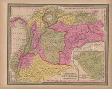 Venezuela Colombia Vintage Map Mitchell 1847