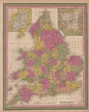 England Vintage Map Mitchell 1847