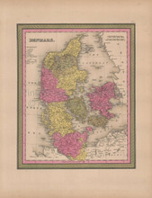 Denmark Vintage Map Mitchell 1847