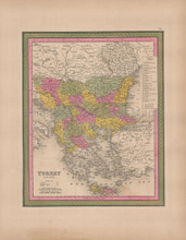Turkey in Europe Vintage Map Mitchell 1847