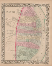 St. Louis Antique Map Mitchell 1868