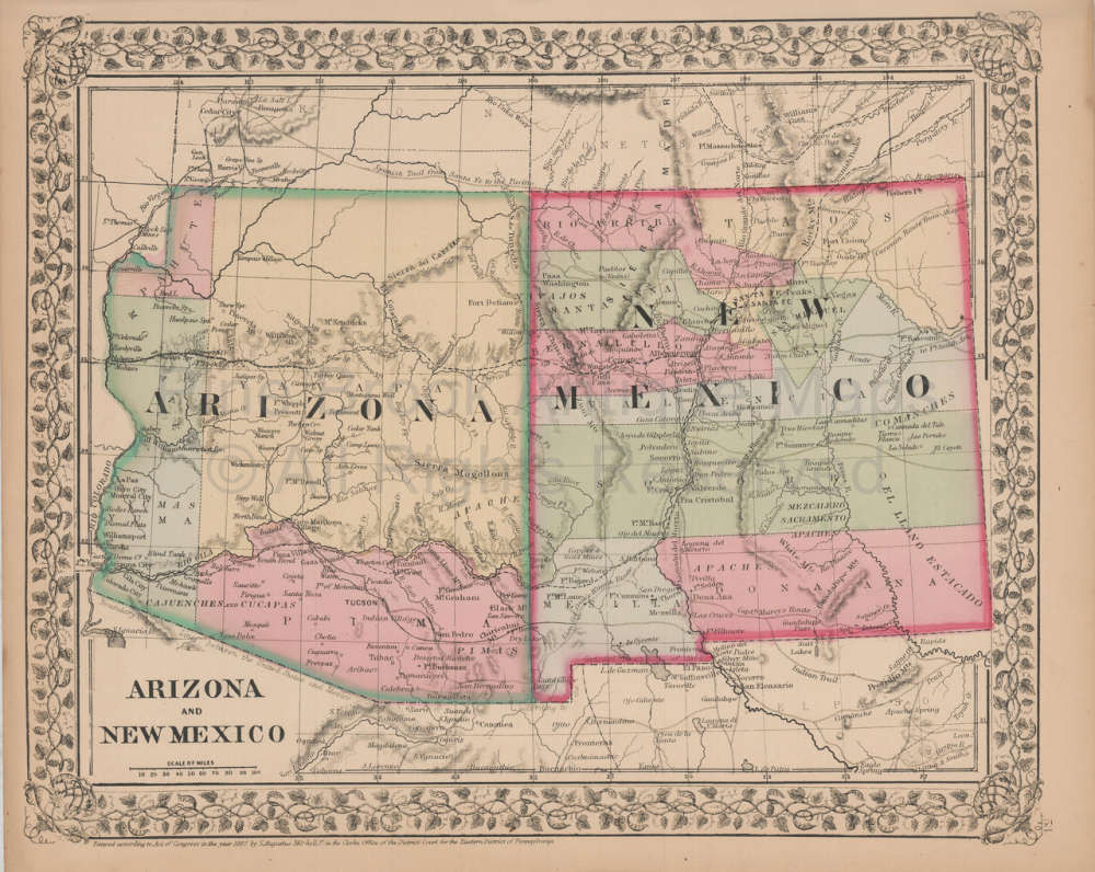 Map Of Arizona And New Mexico.Original Arizona New Mexico Antique Map Mitchell 1868 For Sale Home