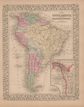 South America Antique Map Mitchell 1868