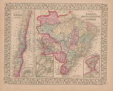 Chili Brazil Antique Map Mitchell 1868