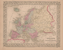 Europe Antique Map Mitchell 1868