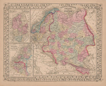 Russia in Europe Antique Map Mitchell 1868