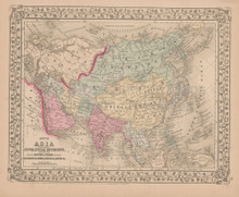 Asia Antique Map Mitchell 1868