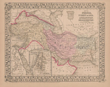 Persia Turkey in Asia Antique Map Mitchell 1868