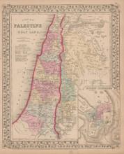Palestine or Holy Land Antique Map Mitchell 1868