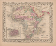 Africa Antique Map Mitchell 1868