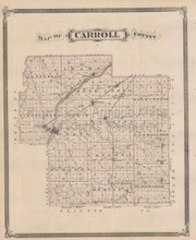 Carroll County Chauncey Delphi Indiana Vintage Map Baskin 1876
