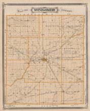 Montgomery County Indiana Vintage Map Baskin 1876