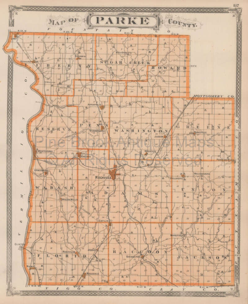 Authentic Parke County Terre Haute Indiana Antique Map Baskin 1876