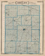 Shelby Rush County Indiana Vintage Map Baskin 1876