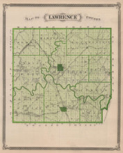 Lawrence Martin County Indiana Vintage Map Baskin 1876