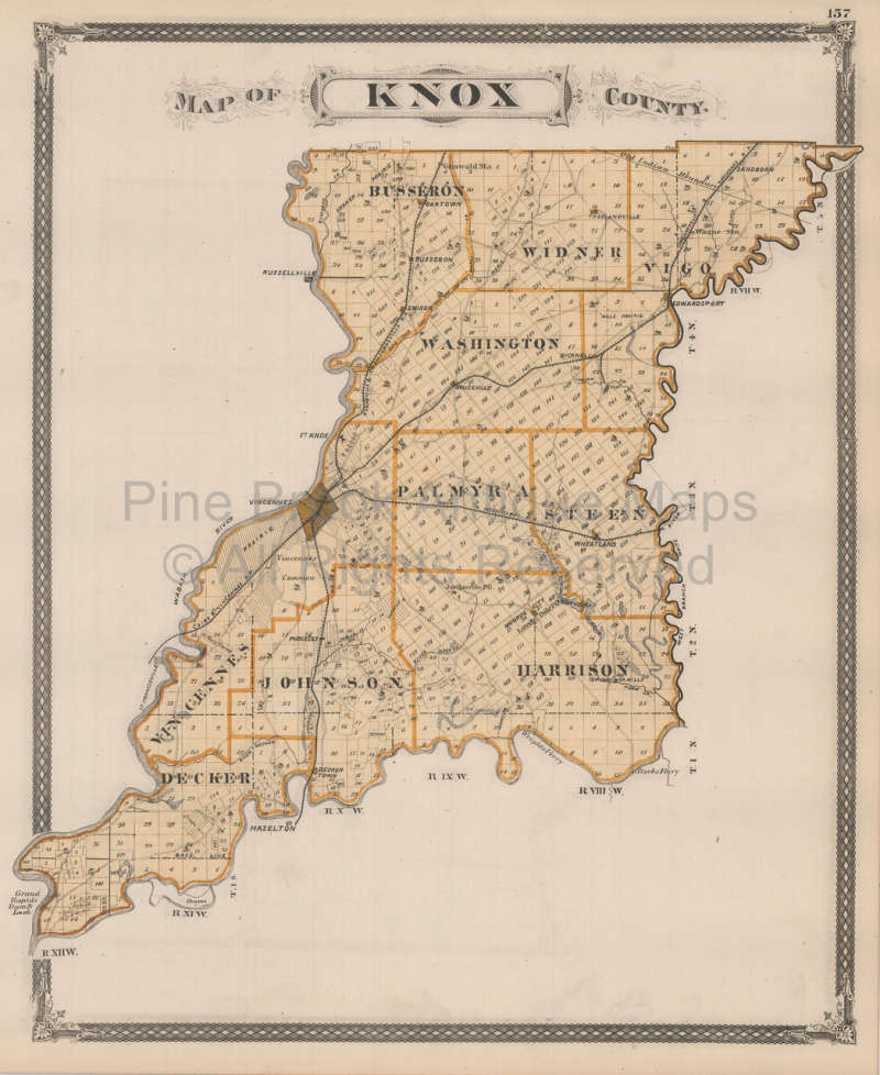Authentic Knox Sullivan County Indiana Antique Map Baskin 1876 For