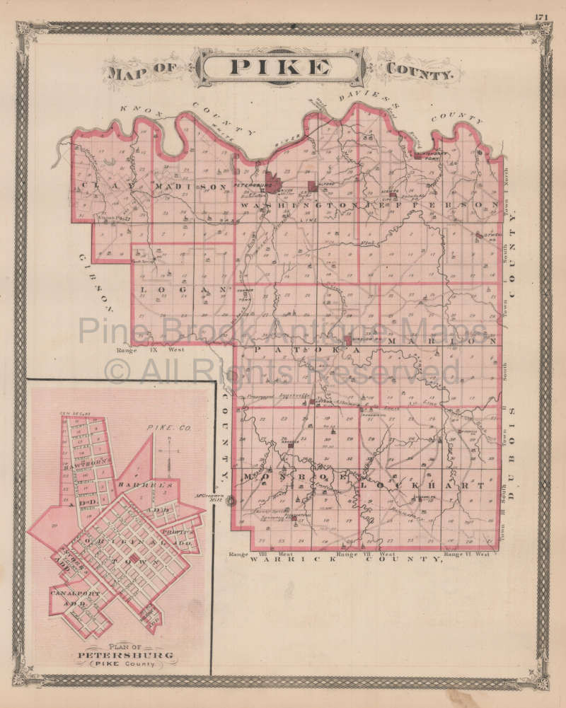 Pike County Indiana Map.Authentic Gibson Pike County Indiana Antique Map Baskin 1876 For