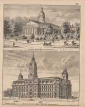 Indianapolis State Capitol Building  Indiana Vintage Print Baskin 1876