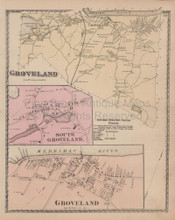 Groveland Massachusetts Vintage Map Beers 1872