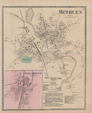 Ballardvale Methuen Massachusetts Vintage Map Beers 1872