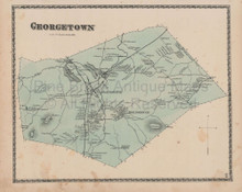 Town Georgetown Massachusetts Vintage Map Beers 1872