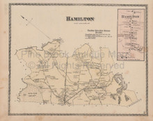 Hamilton Massachusetts Vintage Map Beers 1872