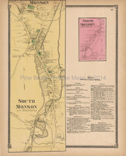 South Monson North Monson Massachusetts Antique Map Beers 1870