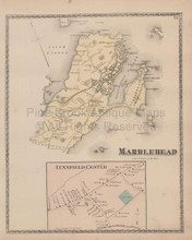 Town Marblehead Massachusetts Vintage Map Beers 1872