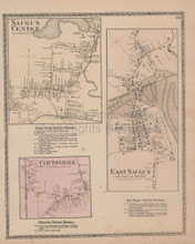Saugus Center Massachusetts Vintage Map Beers 1872