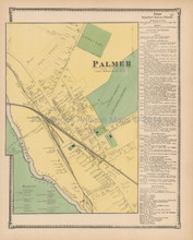 Palmer Village Massachusetts Antique Map Beers 1870