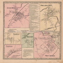 Evans Mills West Carthage New York Vintage Map Beers 1864
