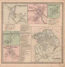 Sterlingville Black River New York Vintage Map Beers 1864