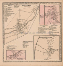 Belleville Mannsville New York Vintage Map Beers 1864
