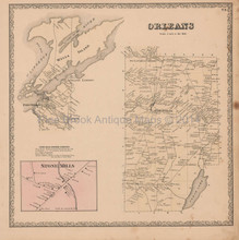 Orleans Wells Island New York Vintage Map Beers 1864