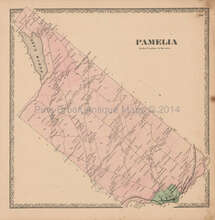 Pamelia Perch Lake New York Vintage Map Beers 1864