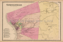 Springfield MA Antique Map Beers 1870