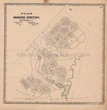 Brookside Cemetery Watertown New York Vintage Map Beers 1864