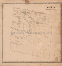 Worth Jefferson County New York Vintage Map Beers 1864