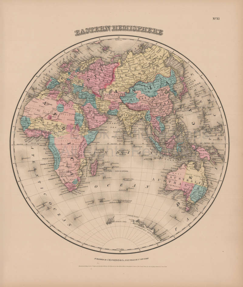 Eastern Hemisphere Vintage Map Colton 1856 original for sale Eastern ...