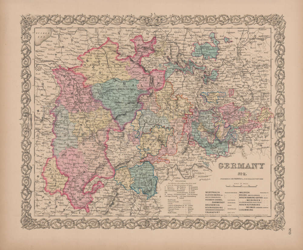 Map Of Germany For Sale.Germany No 2 Vintage Map Colton 1856